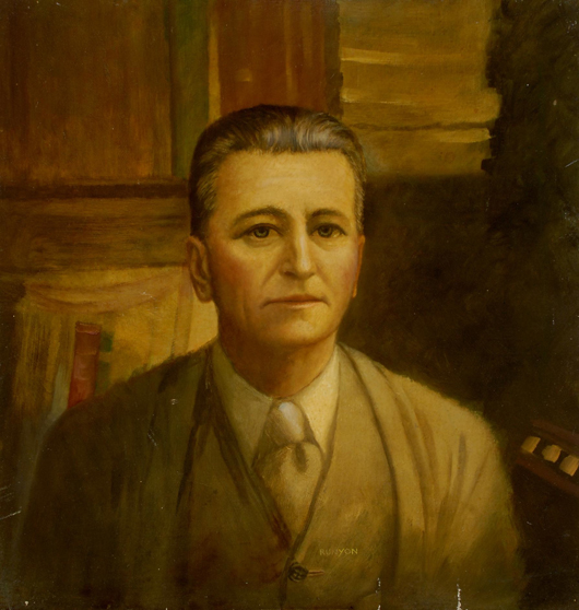 Hal Bayard Runyon (American, 1907 – 1933) lifetime portrait of F. Scott Fitzgerald, Hollywood. Oil on board, circa 1930. Estimate: $500-$1,000. Image courtesy of Michaan's Auctions.