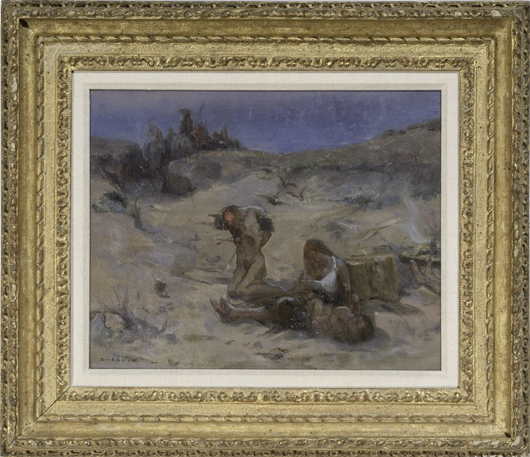Eanger Irving Couse, 'Whitman Massacre,' oil on panel (est. $20,000-$30,000). Image courtesy of Cowan's Auctions Inc.