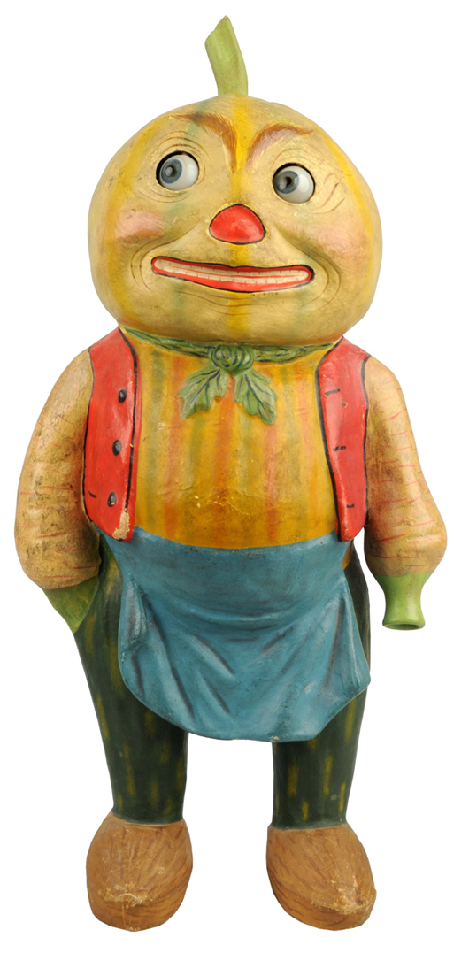 Halloween veggie man with movable glass eyes, 17½ inches tall, possibly the only known example, estimate $10,000-$20,000. Dan Morphy Auctions image.