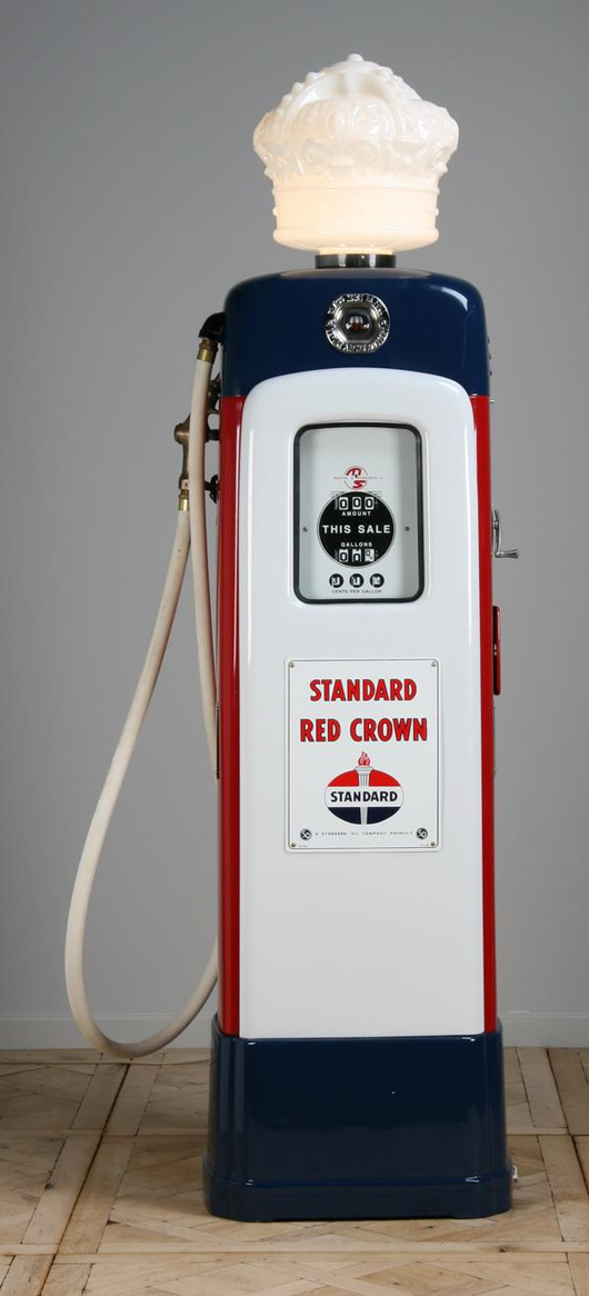 Martin & Schwartz Inc., Model 80 gas pump with sight gauge and the Standard Red Crown-Standard Oil Co. brand logo and glass crown, est. $5,000-$10,000. Image courtesy of Great Gatsby's Auction Gallery.
