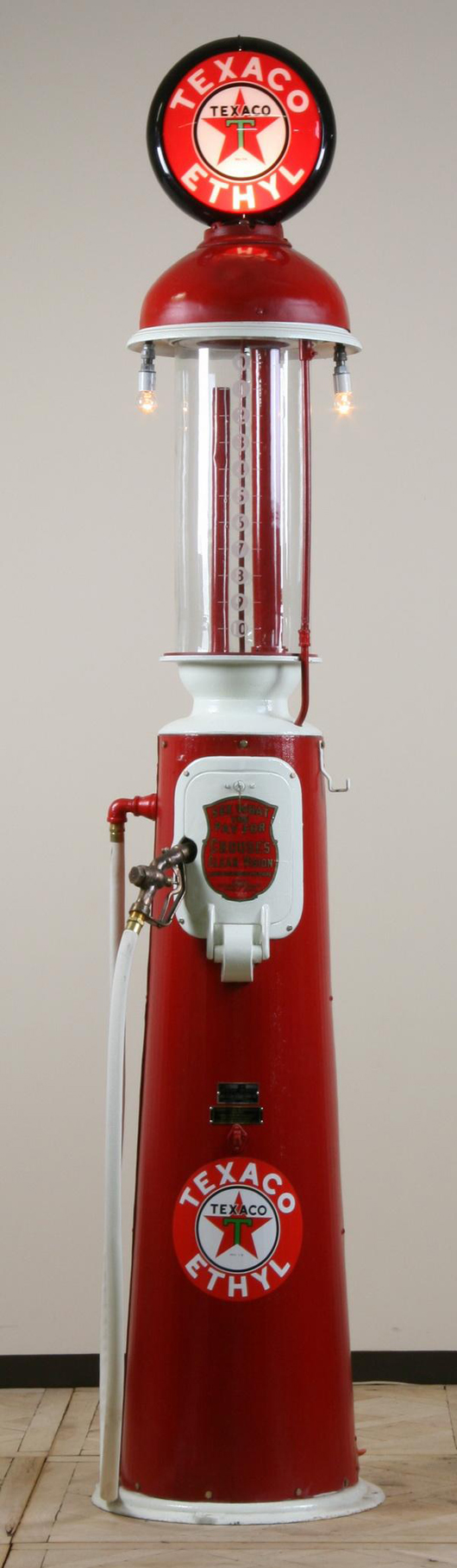 Gas pump maker marked 'Crouse's Clear Vision Liquid Dispensing Measure, Model 201' by Clear Vision Pump Co. Wichita, Kan., with etched glass 10-gallon gas cylinder, est. $4,000-$8,000. Image courtesy of Great Gatsby's Auction Gallery.