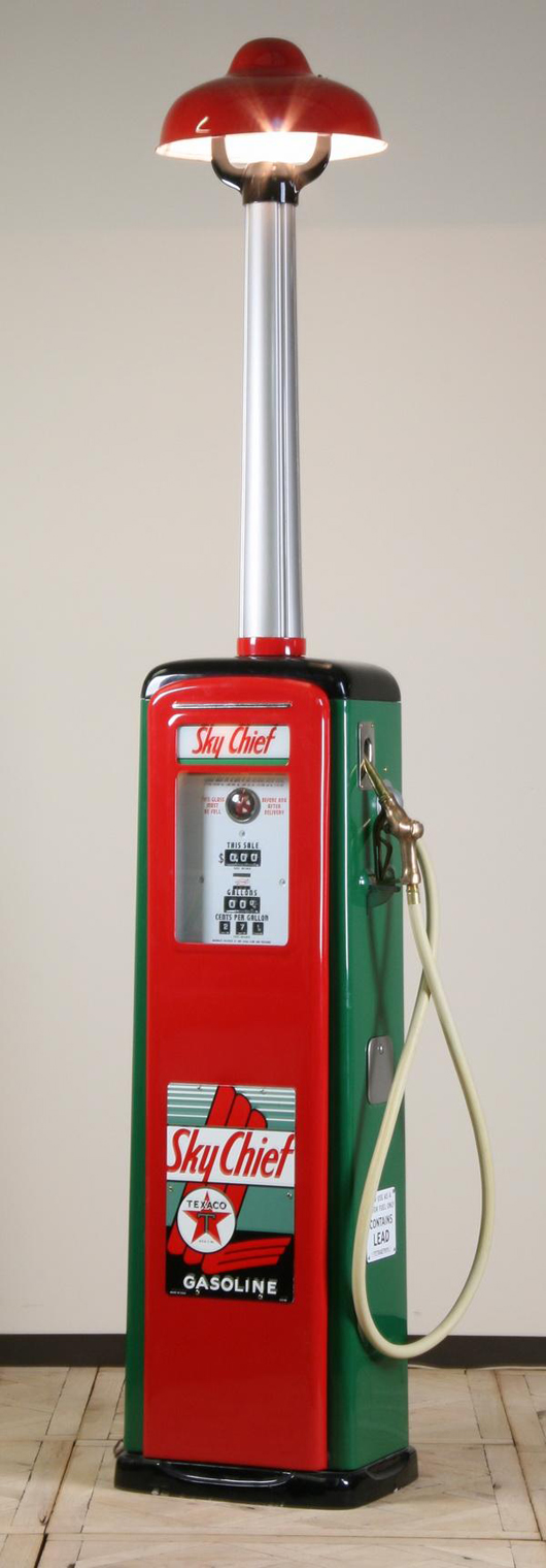 Rare Texaco Oil Co. gas pump with long neck light fixture and the Texaco Sky Chief Gasoline brand logo, est. $4,000-$8,000. Image courtesy of Great Gatsby's Auction Gallery.