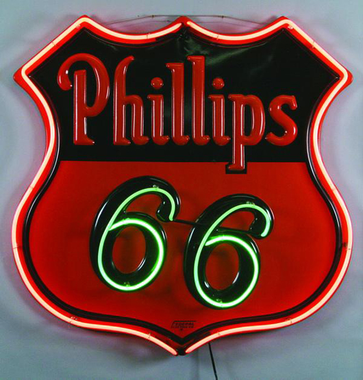 Phillips 66 brand logo wall mounted service station neon sign, 50 inches high by 50 inches wide, est. $2,000-$4,000. Image courtesy of Great Gatsby's Auction Gallery.