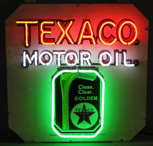 Original Texaco Motor Oil porcelain advertising sign, remade with neon, 30 inches square, est. $1,500-$3,000. Image courtesy of Great Gatsby's Auction Gallery.