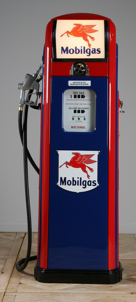 American gas pump with brass plate maker marked 'National Model # A-38,' 1946, with the Mobilgas logo, est.  $4,000-$6,000. Image courtesy of Great Gatsby's Auction Gallery.