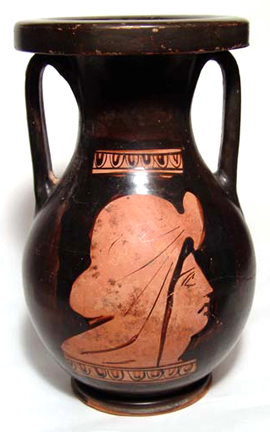 The face of a woman is on either side of this Attic red-figure pelike, fourth century B.C. With some minor repair and small area of restoration, the 7 1/2-inch-tall jar has a $5,000-$6,000 estimate. Image courtesy of Ancient Resource LLC.