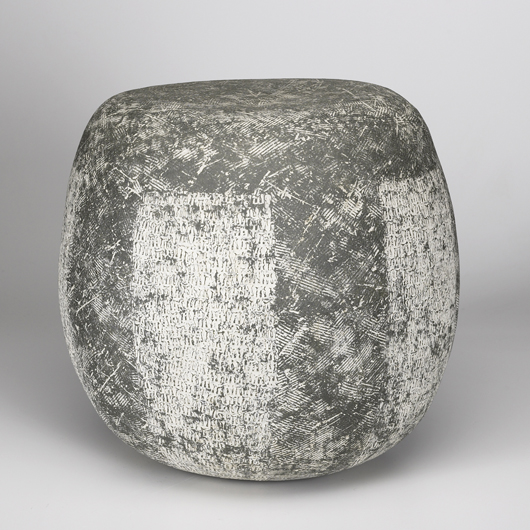 Conover made a series of boulder-like stoneware garden stools. Two examples sold in January. 'Nic Nac,' pictured here, brought $8,540 each. Image courtesy of Rago Arts and Auction Center.