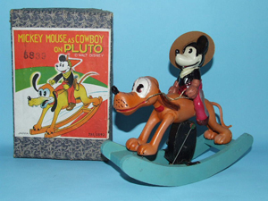 Mickey Mouse Cowboy on Pluto celluloid wind-up toy with original box, 1930s, Japan, extremely rare. Estimate $9,000-$10,000. Image courtesy Toys of Times Past and LiveAuctioneers.com.