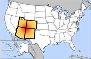 The Four Corners region is in the red area on this map. Image courtesy Wikimedia Commons. Read more: http://acn.liveauctioneers.com/index.php/component/content/article/63-antiquities-and-cultures/2998-native-american-artifact-dealers-collectors-reflect-on-raids#ixzz111Bx4EaT