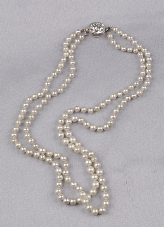 This antique double-strand natural pearl necklace with diamond clasp came from noted jeweler Black, Starr & Frost and sold in March for $88,875. Image courtesy of Skinner Inc.