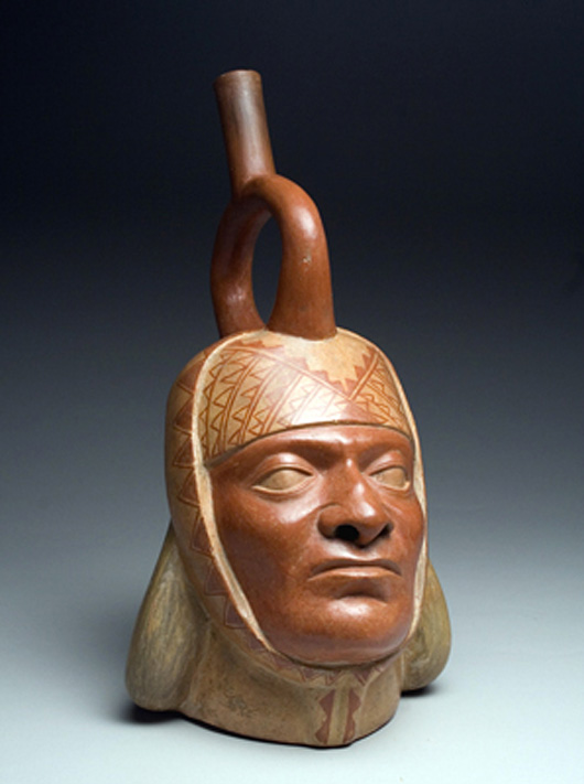 At 12 inches tall and 6 inches wide this Moche IV pottery portrait vessel of a king from the north coast of Peru is unusually large. It dates to circa A.D. 400-500 and carries a $10,000-$15,000 estimate. Image courtesy of Artemis Gallery Live.com.