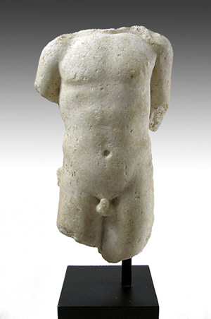 This Roman marble torso is from a statuette of a young god, possibly Apollo. It is 6 inches high, dates to the first or second century and has a $6,000-$9,000 estimate. Image courtesy of Artemis Gallery Live.com.
