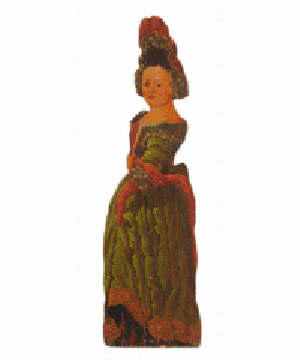 This dummy board is shaped like a woman dressed in a style popular about 1800, when it was made. The pine figure is 42 inches tall and was offered for sale at Stair Galleries of Hudson, N.Y. The figure probably was displayed in a dark corner of a room to surprise visitors.