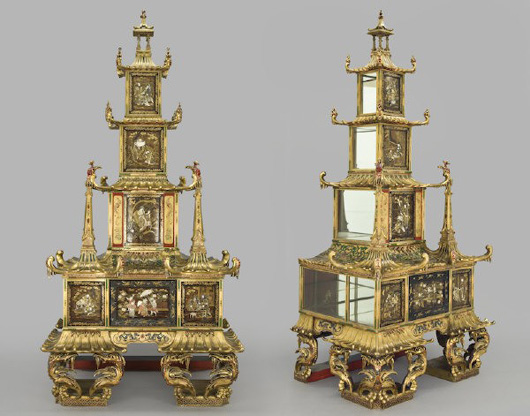 Pair of monumental early Meiji ivory inlaid pagodas, late 19th century, 119 inches high, 57 inches wide, 40 inches deep. Estimate: $30,000- $50,000. Image courtesy of Dallas Auction Gallery.