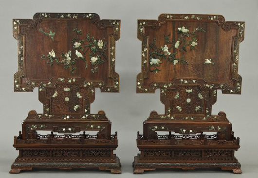 Pair of Chinese jade and ivory inlaid rosewood screens raised on an intricately carved rosewood stands, 59 inches high overall. Estimate: $30,000- $50,000. Image courtesy of Dallas Auction Gallery.