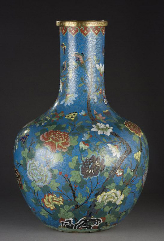 Chinese Qing cloisonné Tianqin vase, 22 inches high, having collector's marks on the bottom. Estimate: $15,000- $25,000. Image courtesy of Dallas Auction Gallery.