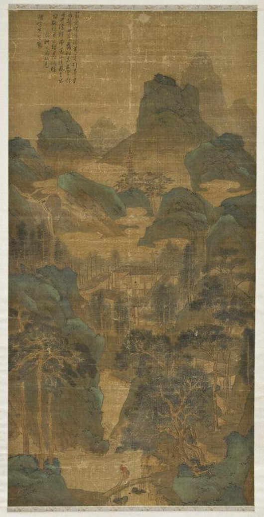 Signed Wen Zhengming watercolor on silk depicting figures in a landscape, circa 16th century, 65 inches high by 31 inches long. Estimate: $30,000- $50,000. Image courtesy of Dallas Auction Gallery.