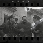 Robert Capa [Ernest Hemingway (third from the left), New York Times journalist Herbert Matthews (second from the left) and two Republican soldiers, Teruel, Spain], late December 1937. Negative. Copyright International Center of Photography / Magnum Collection, International Center of Photography.