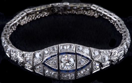 Important, fine form Art Deco diamond and sapphire bracelet made circa 1930s ($12,075). Photo courtesy of Leland Little Auction & Estate Sales Ltd.