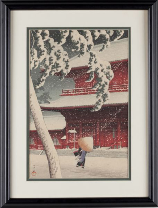 Woodblock in colors by Hasui Kawase (Jap., 1883-1957), titled 'Zojoji Temple' ($5,500). Photo courtesy of Leland Little Auction & Estate Sales Ltd.