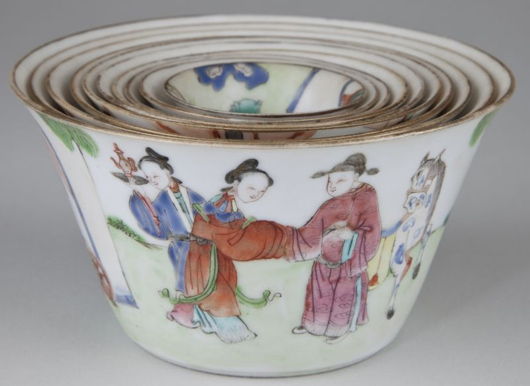 Rare intact set of 10 Canton porcelain nesting bowls with figural scenes on each ($5,060). Photo courtesy of Leland Little Auction & Estate Sales Ltd.