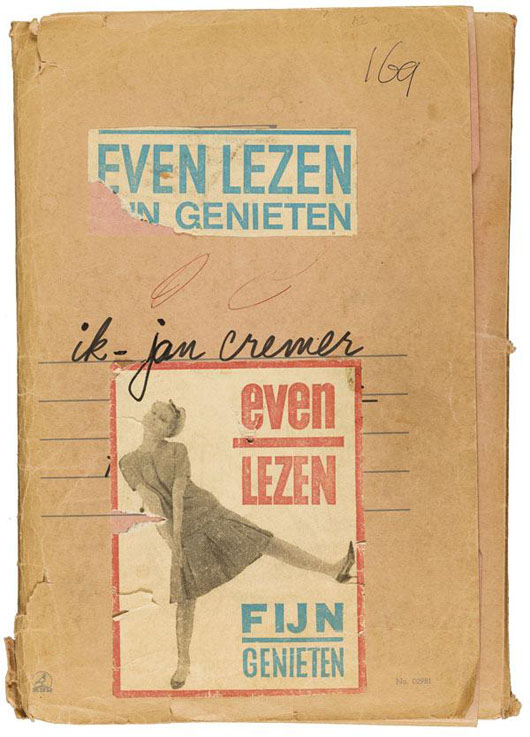 From the portfolio containing Jan Cremer's original autographed manuscript for the Dutch counterculture literary sensation of 1965 titled Ik Jan Cremer. The group lot also includes original designs, collages and cover art, as well as the publicity campaign as strategized by Cremer. Adams Amsterdam image.