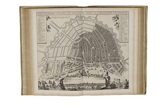 J. Blaeu, Toonneel der steden (1649-1700). Contemporary vellum, three volumes, large folio, extra illustrated 'De Wit edition' of town atlas containing plans and maps of all the cities, fortresses, and sieges of the mid- to late-17th-century Dutch Republic. Estimate: $123,000-$163,000. Adams Amsterdam image.