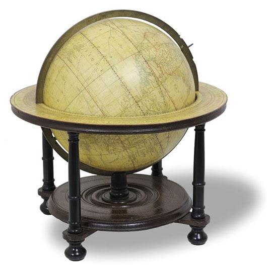 Circa-1802 globe by Mortier & Covens. Estimate $9,500-$12,250. Adams Amsterdam image.