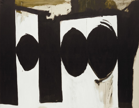 """Robert Motherwell, (American, 1915-1991) Elegy to the Spanish Republic, 54. 1957-61 Oil on canvas. 70"""" x 7' 6 1/4"""" (178 x 229 cm) The Museum of Modern Art, New York. Given anonymously © Dedalus Foundation, Inc./Licensed by VAGA, New York, NY"""