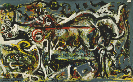 """Jackson Pollock (American, 1912-1956) The She-Wolf. 1943 Oil, gouache, and plaster on canvas 41 7/8 x 67"""" (106.4 x 170.2 cm) Purchase © 2010 The Pollock-Krasner Foundation / Artists Rights Society (ARS), New York"""