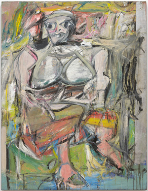 """Willem de Kooning (American, born The Netherlands, 1904-1997). Woman, I. 1950–52. Oil on canvas. 6' 3 7/8"""" x 58"""" (192.7 x 147.3 cm). The Museum of Modern Art, New York. Purchase. © 2010 The Willem de Kooning Foundation / Artists Rights Society (ARS), New York"""