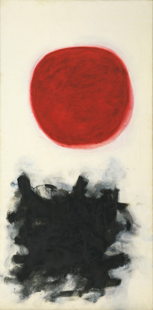 """Adolph Gottlieb (American, 1903-1974) Blast, I 1957 Oil on canvas 7' 6"""" x 45 1/8"""" (228.7 x 114.4 cm) The Museum of Modern Art, New York. Philip Johnson Fund © Adolph and Esther Gottlieb Foundation/Licensed by VAGA, New York, NY"""