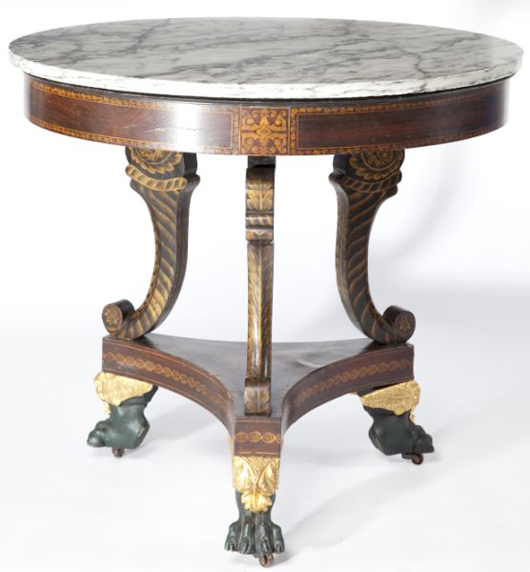 Beautiful circa 1820s mahogany American Classical stencil decorated center table ($9,200). Photo courtesy of Leland Little Auction & Estate Sales Ltd.