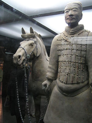 Terracotta soldier with horse displayed behind glass. Photo taken in 2005 by Robin Chen.