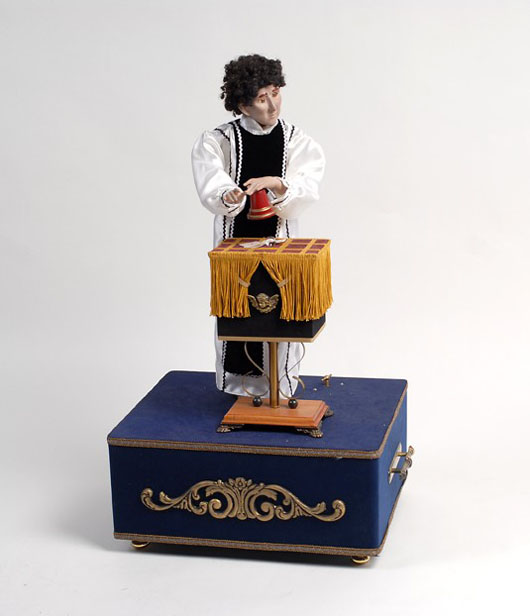 Magician Alan Wakeling (1926-2004) created this lifelike cup and ball magician automaton circa 2000. It is expected to sell for $12,000-$15,000. Image courtesy of Potter & Potter Auctions.