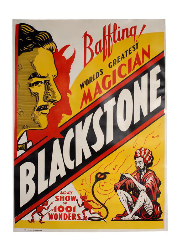 Harry Blackstone's 'Baffling! World's Greatest Magician' one-sheet poster dates to the early 1930s. Featuring Blackstone's portrait overlooking a snake charmer and devils, the poster has a $400-$600 estimate. Image courtesy of Potter & Potter Auctions.