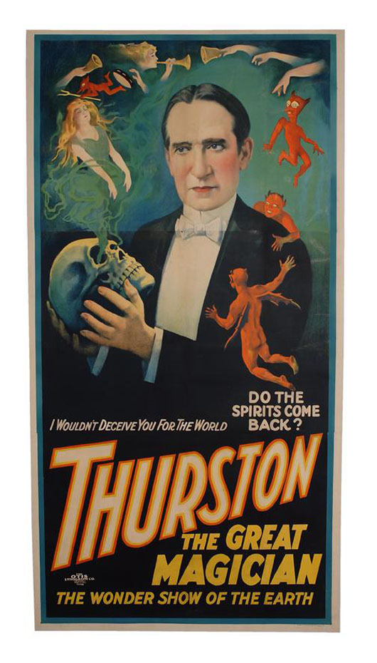 Thurston the Great Magician asks, 'Do The Spirits Come Back?' This scarce three-sheet color lithograph poster circa 1926 has a $6,000-$8,000 estimate. Image courtesy of Potter & Potter Auctions.