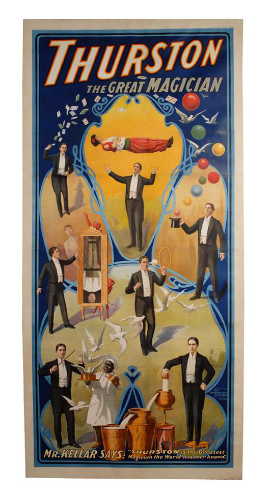 Vignettes from Howard Thurston's magic show are depicted on this circa 1908 three-sheet color lithograph. Linen backed and in good condition, the poster has a $9,000-$11,000 estimate. Image courtesy of Potter & Potter Auctions.