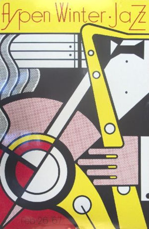 Roy Lichtenstein's 'Aspen Jazz' poster is a screen-print on heavy, glossy white paper. It was published for the 1967 Aspen Jazz Festival. The 40-inch by 26-inch poster has a $8,250-$9,375 estimate. Image courtesy of Universal Live.