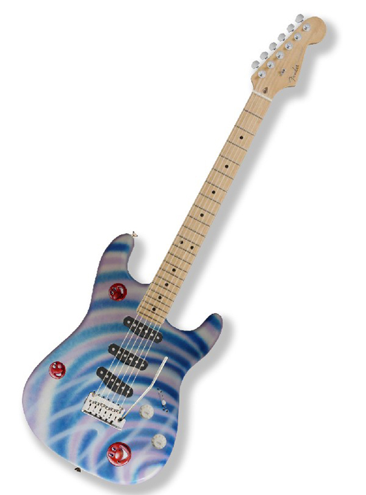 One of a kind guitar personally decorated and sign by American pop art icon Kenny Scharf, whose work has been shown at the Guggenheim and Whitney Museums in New York; the Ludwig Museum in Cologne, Germany; the Museu de Arte Moderna, Rio de Janeiro; and the Vincent Van Gogh Museum in Amsterdam. Estimate $10,000-$15,000. Image courtesy of LiveAuctioneers.com and Little Kids Rock.