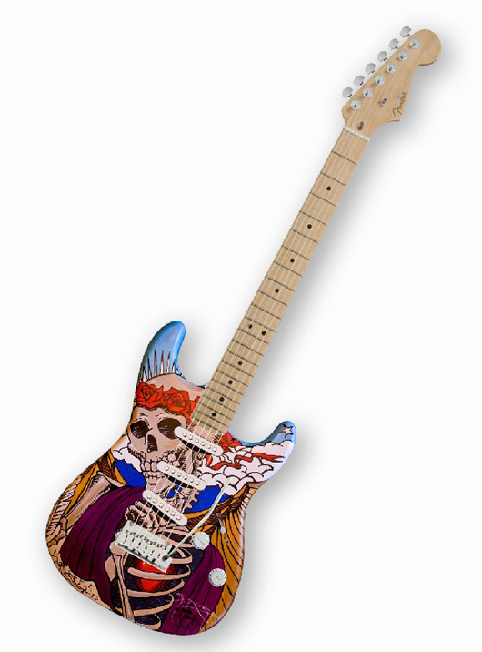 Unique guitar decorated and autographed by Stanley Mouse, who has done artwork for the Grateful Dead, Steve Miller Band, Joan Baez, David Nash, Bo Diddley and Tom Waits. Estimate $5,000-$10,000. Image courtesy of LiveAuctioneers.com and Little Kids Rock.