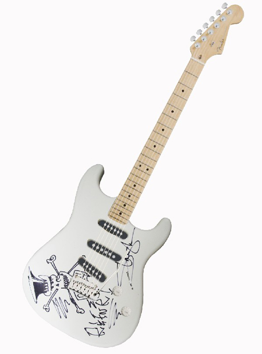 One of a kind Fender® Stratocaster® personally decorated and autographed by Slash, former lead guitarist of Guns N' Roses and Velvet Revolver. Estimate $3,000-$5,000. Image courtesy of LiveAuctioneers.com and Little Kids Rock.
