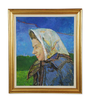 Ruskin Spear, R.A. (British, 1911-1990), 'The Headscarf,' a portrait of Queen Elizabeth, oil on canvas, signed lower right, 30 x 26 inches, est. $15,000-$18,000. Image courtesy of Morton Kuehnert Auctioneers.