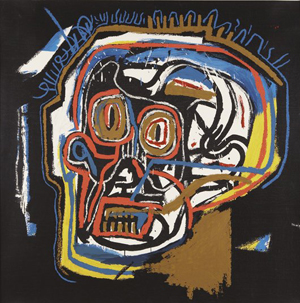 Representative of Basquiat's work, this 40-inch by 40-inch screen print of a head is untitled. Image courtesy of Phillips de Pury & Company.