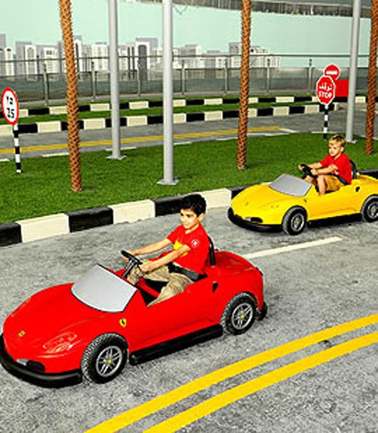 Children can learn their first driving skills at Ferrari World Abu Dhabi. Sure beats the old pedal car! Image courtesy of Ferrari World Abu Dhabi.