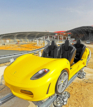 The Ferrari World Abu Dhabi GT roller coaster is one of two unique roller coasters featured at the new theme park. The GT roller coaster is a racing coaster, which sends two competing roller coaster carriages sprinting along twisting parallel tracks on a race to the finish line. Each coaster car is a replica of a Ferrari F430 Spider. Image courtesy of Ferrari World Abu Dhabi.
