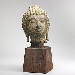 Burmese bronze Buddha head, estimate $2,500-$3,500. Rago image.