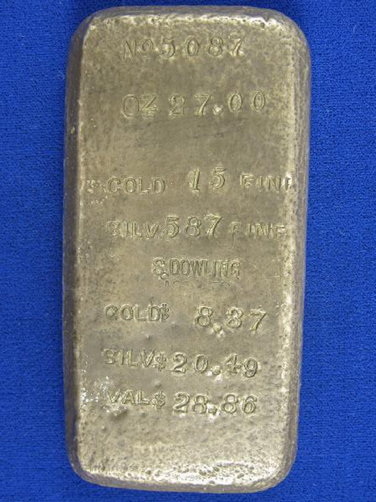 This 27-ounce silver bar is from Gold Hill, Nevada, circa 1870s. Sam Dowling, whose name is marked on the bar, was a longtime assayer on the Comstock. The bar is expected to sell for $20,000-$30,000. Image courtesy Holabird-Kagin Americana.