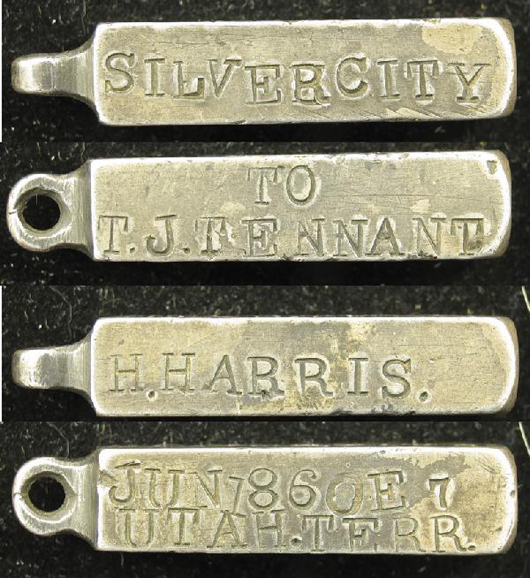 This miniature Comstock Lode silver ingot was made as a presentation watch fob, which commemorates the organization of the Devil's Gate Mining District near Silver City, Nev., in June 1860. One of the earliest examples of Comstock Lode silver, the ingot has a $20,000-$30,000. Image courtesy Holabird-Kagin Americana.