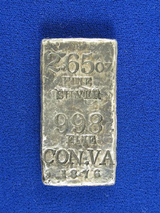 The Consolidated Virginia Mining Co., formed from several mines on the Comstock Lode near Virginia City, Nev., produced this small silver ingot. The 2.65-ounce ingot measures 2 inches x 1 inch x 1/4 inch. It has a $20,000-$30,000 estimate. Image courtesy Holabird-Kagin Americana.